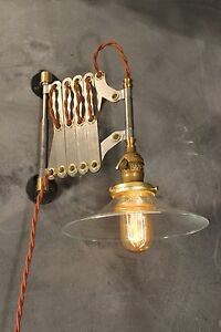 Industrial Lighting Vintage Scissor Lamp Accordion Sconce Light Art Deco