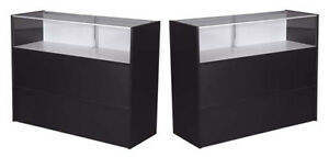 70 Jewelry Showcase Counter W light Retail Store Display Assembled Black New