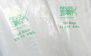 Ziplock Bags 12x15 Clear 4mil Reclosable 200pcs Zip Lock Large Bag 12 x15 4 Mil