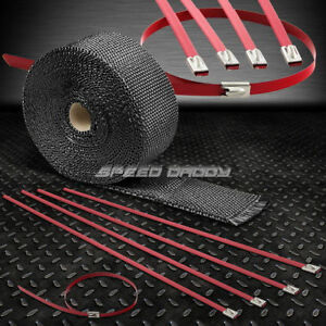 25 7 5m 2 W Exhaust Downpipe Black Heat Wrap Stainless Red Zip Tie Cable