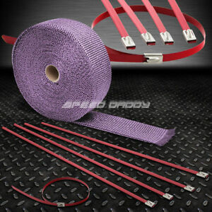 32 10m 2 W Cat Back Exhaust Header Purple Heat Wrap Stainless Red Zip Tie