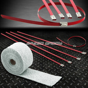 15ft 180 L 2 W Exhaust Intake Header White Heat Wrap Stainless Red Zip Tie