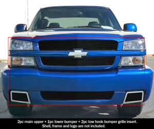 For 2003 2005 Chevy Silverado 1500 Ss Black Billet Premium Grille Combo