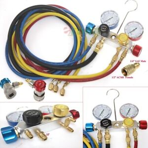 R410a R134a R12 R22 4 Way Valve Manifold Gauge 4 Hoses Quick Adapter Hvac Kit
