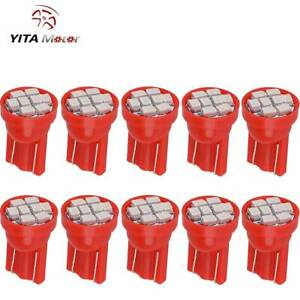 10x Pure Red T10 8 Smd Led Interior Instrument Dash Lights W5w 2825 158 168 192