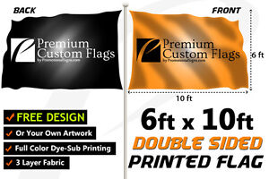 6 x10 Full Color Double Sided Custom Flag With Grommets