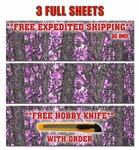 3 Girl Camo Decal Made From 3m Wrap Vinyl 48x15 Muddy Print Camouflage Hot Pink