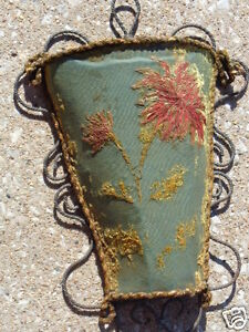 Antique French Victorian Fabric Shabby Chic Wall Sconce Open Pocket Decoration