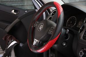 Black Red Pvc Leather Diy Steering Wheel Stitch Cover Wrap W Needle Thread 47010