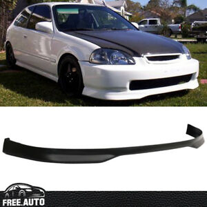 Fit For 99 00 Honda Civic Ek Jdm T R Front Bumper Lip Spoiler Bodykit Black Pp