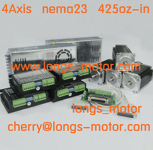 4axis Nema23 Stepper Motor 425oz 4 2a 4wires Cnc Router 2pcs Power New
