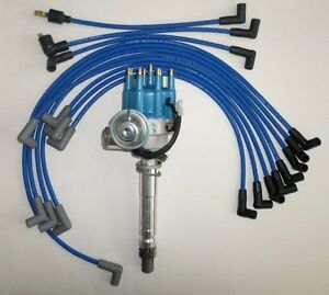 Small Block Chevy Blue Small Hei Distributor Spark Plug Wires Over Valve Cover