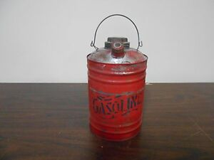 Antique Vintage Small Metal Gas Can With Old Red Paint Very Nice Collectible