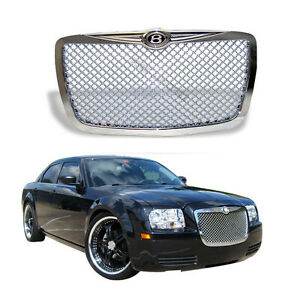 For 05 10 Chrysler 300 300c Mesh Style Front Bumper Hood Grille Grill Chrome