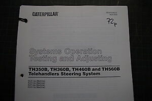 Caterpillar Telehandler Steering System Testing Adjusting Service Manual Repair