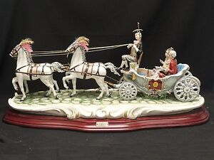 Rare Signed Huge 29 Cortese Capodimonte Prince Princess In Carriage Figurine