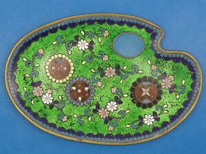 Antique Chinese Qing Late 19c Elaborate Floral Cloisonne Plate