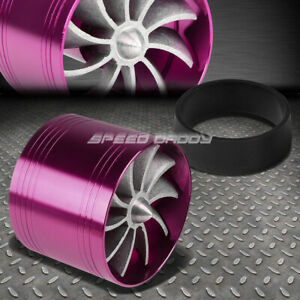 Purple 2 5 Air Intake Turbo Filter Adapter Fuel Gas Saver Propeller Fan
