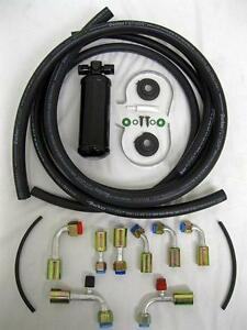 Universal Beadlock Fitting Ac Hose Kit W Black Drier Air Conditioning Heat
