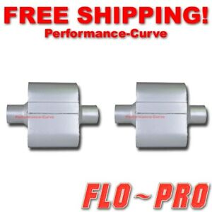 Pair Of Single Chamber Performance Race Mufflers Flo pro 2 5 2 5 V425109