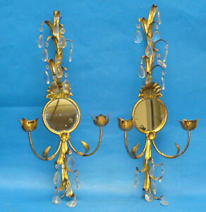 Pair Of Large Elaborate Antique Metal Tole Gilded Candle Sconce W Mirror 21