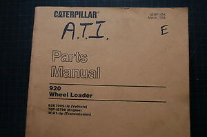 Cat Caterpillar 920 Wheel Loader Parts Manual Book Catalog Owner Spare Front End