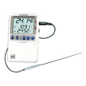 Traceable Hi accuracy Dual Thermometer One Stainless steel Probe 1 Ea