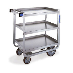 Heavy Duty Stainless Steel Carts 2 Shelves With Guard Rails 32 625 l X 19 37