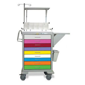 9 drawer Steel Pediatrics Cart With Accessory Package 1 Ea