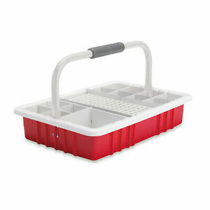 Red Phlebotomy Tray With 17mm Test Tube Rack 1 Ea