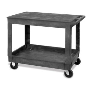 Large 2 shelf Utility Cart With Flat Top And Lower Shelf With Raised Sides