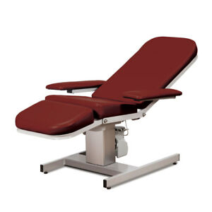 Electric Reclining Phlebotomy Blood Draw Chair Height Adjustable Burgundy