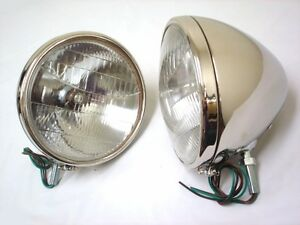 1933 1934 Ford Car Stainless Headlights Glass Lens Logo 12 Volt Halogen Bulb