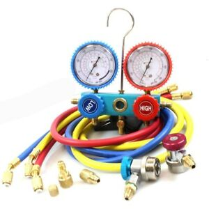R410a R134a Hvac Ac Manifold Gauges W 3 Charge Hoses Quick Adapter Acme