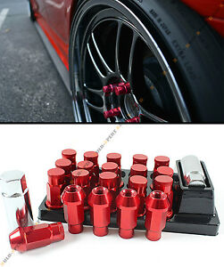 Red Jdm Spec R Style Close End Extended Wheel Lug Nuts Lock Key For Mitsubishi