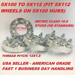 4x Wheel Conversion Adapters 5x100 To 5x112 57 1 Cb 1 Inch Fits Chevy Dodge