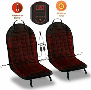 Zone Tech 12v 2x Heated Car Seat Chair Cushion Cover Pad 1 Integrated Plug