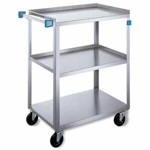 Standard Duty Stainless Steel Carts 3 Shelves 27 5 l X 16 25 w X 32 125 h 1 Ea