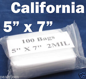 100 X Reclosable 5 X 7 Zip Bags Clear Poly Plastic 2mil Lock Able 125 X 175 Mm