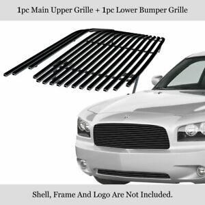 Customized For 05 10 Dodge Charger Black Billet Premium Grille Combo Insert