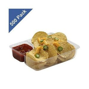 Gold Medal Clear Nacho Trays 2 Compartment 500 Ct Food Service Concession