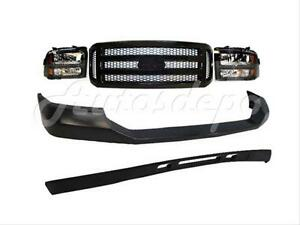05 07 Ford F250 Harley Davidson Front Bumper Pad Valance Grille Blk Headlight 5p