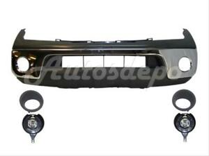 Fits 05 08 Frontier Front Steel Chrome Bumper Up Pad Valance Fog Light Bezel 7p