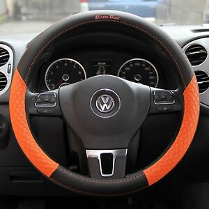 Black Orange Pvc Leather Steering Wheel Cover Slip on 58013 Sport 14 25 15