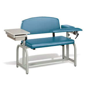 Lab X Extra Wide Padded Phlebotomy Blood Draw Chair With Drawer Wedgewood