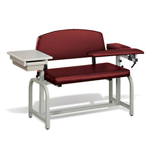 Lab X Extra Wide Padded Phlebotomy Blood Draw Chair With Drawer Burgundy