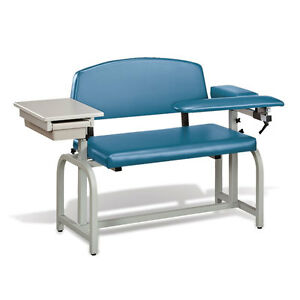 Lab X Extra Wide Padded Phlebotomy Blood Draw Chair With Drawer Slate Blue