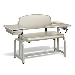 Lab X Extra Wide Padded Phlebotomy Blood Draw Chair With Drawer Cream