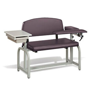Lab X Extra Wide Padded Phlebotomy Blood Draw Chair With Drawer Purplegray