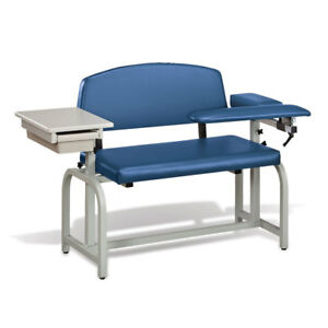 Lab X Extra Wide Padded Phlebotomy Blood Draw Chair With Drawer Royal Blue